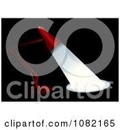Clipart 3d Red Desk Lamp Shining Light Over Black Royalty Free Vector Illustration