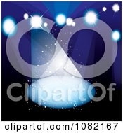 Clipart Dark Blue Background With Bright Stage Lights Royalty Free Vector Illustration