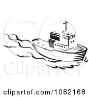 Clipart Retro Black And White Tug Boat Royalty Free Vector Illustration