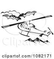 Clipart Retro Black And White Helicopter Above Mountains Royalty Free Vector Illustration by patrimonio