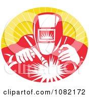 Clipart Retro Welder At Work Over Orange Rays Royalty Free Vector Illustration by patrimonio #COLLC1082172-0113