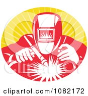 Clipart Retro Welder At Work Over Orange Rays Royalty Free Vector Illustration