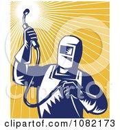 Clipart Retro Blue Welder Against Orange Rays Royalty Free Vector Illustration