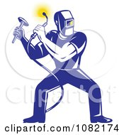Clipart Retro Blue Welder Squatting Royalty Free Vector Illustration