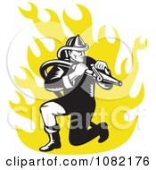 Retro Fireman With A Hose Over Yellow Flames