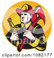 Clipart Retro Fireman With An Axe And Hose Over Orange Rays Royalty Free Vector Illustration