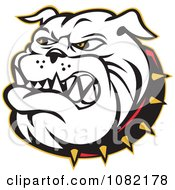 Clipart Retro Bulldog And Spiked Collar Royalty Free Vector Illustration
