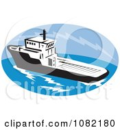 Clipart Tug Boat In A Blue Oval Royalty Free Vector Illustration