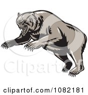Clipart Attacking Grizzly Bear Royalty Free Vector Illustration