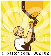 Clipart Retro Construction Worker Grabbing A Hook Over Rays Royalty Free Vector Illustration