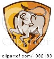 Clipart Bull On An Orange Shield Royalty Free Vector Illustration