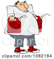 Clipart Man Carrying Two Gas Cans Royalty Free Vector Illustration