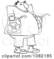Clipart Outlined Man Carrying Two Gas Cans Royalty Free Vector Illustration