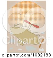 Clipart Tan Blimp Airship Over A Halftone Sun Royalty Free Vector Illustration by mheld