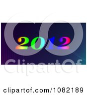Clipart Gradient 2012 New Year Over Waves On Purple And Blue Royalty Free CGI Illustration