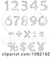 Clipart Sketched Checkered Numbers Royalty Free Vector Illustration
