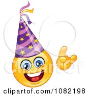 Clipart Yellow New Year Emoticon Smiley Face Wearing A Party Hat Royalty Free Vector Illustration by yayayoyo