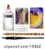 Glue Crayons Paper Clipars Pencil And Calligraphy Pen Clipart Illustration