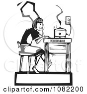Black And White Woodcut Styled Girl Waiting By A Slow Cooker