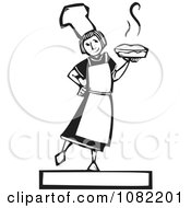 Black And White Woodcut Styled Girl Holding A Fresh Pie