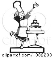 Clipart Black And White Woodcut Styled Girl Presenting A Cake Royalty Free Vector Illustration