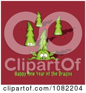 Clipart Dragon And Trees With Happy New Year Of The Dragon Text On Red Royalty Free Vector Illustration