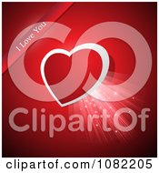 Clipart Shining Heart With I Love You Ribbon On Red Royalty Free Vector Illustration
