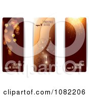 Clipart Three Brown Vertical Christmas And New Year Banners With Sample Text Royalty Free Vector Illustration