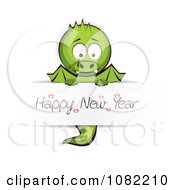 Clipart Dragon Holding A Happy New Year Sign Royalty Free Vector Illustration