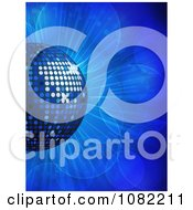 Clipart 3d Blue Disco Music Ball On Blue Flares Royalty Free Vector Illustration