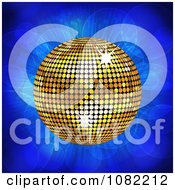 Clipart 3d Gold Disco Music Ball On Blue Flares Royalty Free Vector Illustration