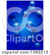 Clipart 3d Blue Molecular Structures With Flares Royalty Free Vector Illustration by elaineitalia