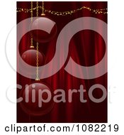 Clipart 3d Red Glass Christmas Bulbs Over Silk Drapes Royalty Free Vector Illustration