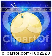 Clipart 3d Round Golden Christmas Label With Snowflake Ribbons On Blue Royalty Free Vector Illustration by elaineitalia
