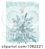 3d Blue Christmas Tree With White Ornaments On Blue Rays With Grunge