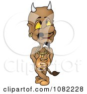 Clipart Pleased Devil Holding His Hands Together Royalty Free Vector Illustration by dero