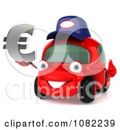 Clipart 3d Red Mechanic Car Holding A Euro Symbol 1 Royalty Free CGI Illustration