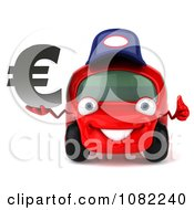 Clipart 3d Red Mechanic Car Holding A Euro Symbol 2 Royalty Free CGI Illustration