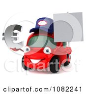 Clipart 3d Red Mechanic Car Holding A Sign And Euro Symbol Royalty Free CGI Illustration