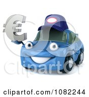 Clipart 3d Blue Mechanic Car Holding A Euro Symbol Royalty Free CGI Illustration