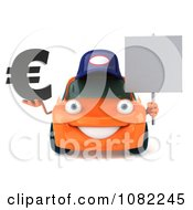 Clipart 3d Orange Mechanic Car Holding A Sign And Euro Royalty Free CGI Illustration