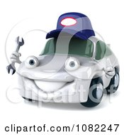 Clipart 3d White Mechanic Car Holding A Wrench 1 Royalty Free CGI Illustration