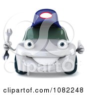 Clipart 3d White Mechanic Car Holding A Wrench 2 Royalty Free CGI Illustration