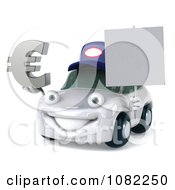Clipart 3d White Mechanic Car Holding A Sign And Euro Symbol Royalty Free CGI Illustration