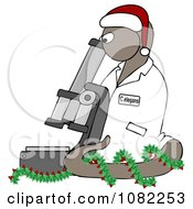 Clipart BrownChristmas C Elegans Roundworm With A Santa Hat And Holly Wreath And Microscope Royalty Free Illustration by Dennis Cox