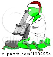 Clipart Green Christmas C Elegans Roundworm With A Santa Hat And Holly Wreath And Microscope Royalty Free Illustration by Dennis Cox