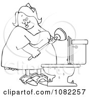 Clipart Outlined Woman With A Plunger Over A Clogged Toilet Royalty Free Vector Illustration