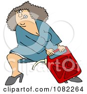 Clipart Woman Lugging A Heavy Gas Can Royalty Free Vector Illustration