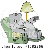 Clipart Elephant Holding A Tv Remote And Drink In A Recliner Royalty Free Vector Illustration
