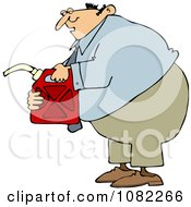Clipart Man Holding A Gas Can Royalty Free Vector Illustration